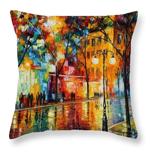 Leonid Afremov Throw Pillow featuring the painting The Tears Of The Fall - Palette Knife Oil Painting On Canvas By Leonid Afremov by Leonid Afremov
