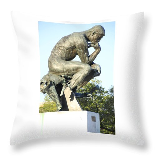 Rodin Throw Pillow featuring the photograph The Thinker Cleveland Art Statue by Valerie Collins