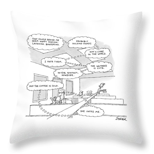 Diner Throw Pillow featuring the drawing The Thought Bubbles Of A Man In A Diner: That by Jack Ziegler