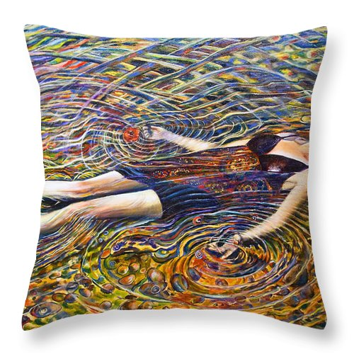 Energy Throw Pillow featuring the painting The Thousand Natural Shocks-sold by Mirinda Reynolds