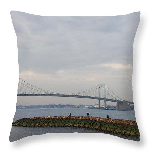 The Throgs Neck Bridge Throw Pillow featuring the photograph The Throgs Neck Bridge by John Telfer