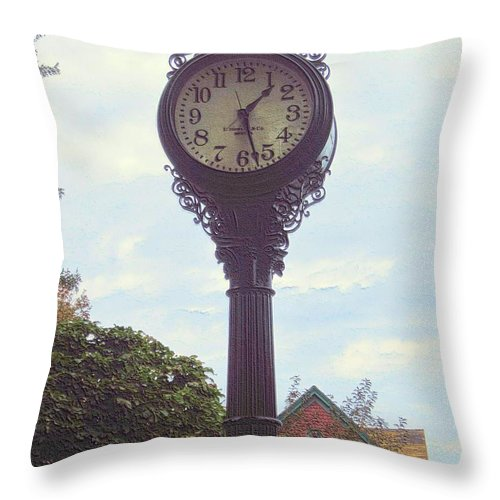 Clock Throw Pillow featuring the photograph The Time by G Berry