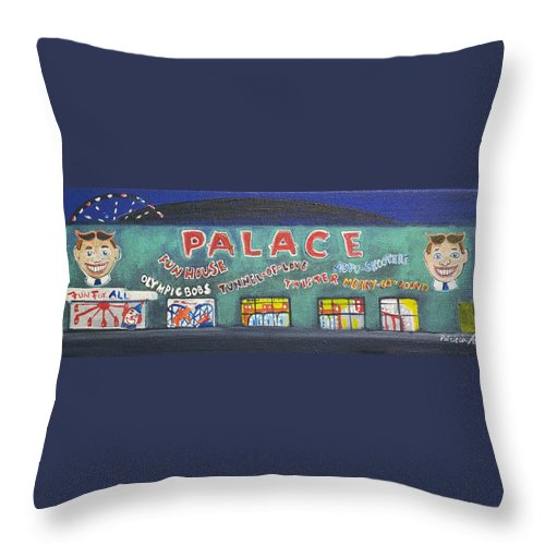Tillie Of Asbury Park Throw Pillow featuring the painting The Tiny Tiny Palace by Patricia Arroyo