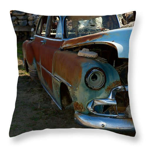 Thunder Mountain Indian Monument Throw Pillow featuring the photograph The Tired Chevy 3 by Richard J Cassato