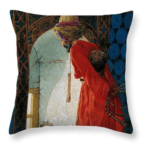Art Error Throw Pillow featuring the digital art The Tortoise Trainer 1906 by Osman Hamdi