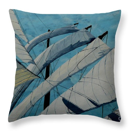 Sails Throw Pillow featuring the painting The Tower Of Power by Anthony Dunphy