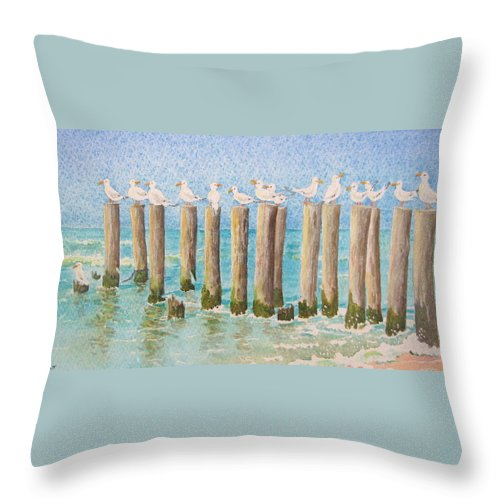 Seagulls Throw Pillow featuring the painting The Town Meeting by Mary Ellen Mueller Legault