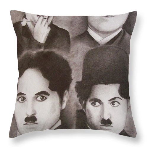 Charlie Chaplin Throw Pillow featuring the drawing The Tramp by Amber Stanford