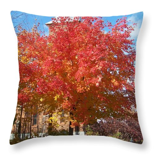Tree Throw Pillow featuring the photograph The Tree By The Church - Photograph by Jackie Mueller-Jones