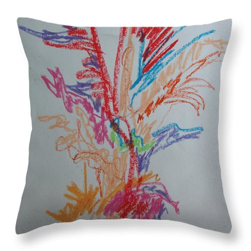 Tree Throw Pillow featuring the drawing The Tree Dance by Esther Newman-Cohen