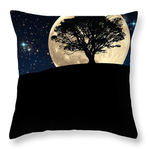 Tree Throw Pillow featuring the photograph The Tree The Moon The Stars by Mike Nellums
