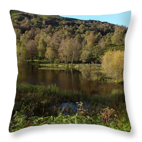 Loch Achray Throw Pillow featuring the photograph The Trees By The Loch by John Topman