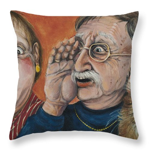 Rumors Throw Pillow featuring the painting The Truth About Edna by Shelly Wilkerson