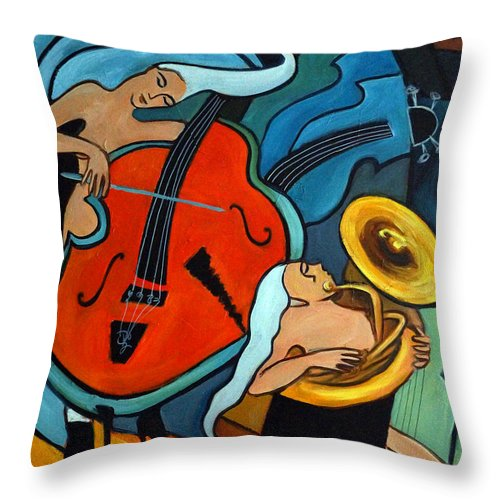 Musician Abstract Throw Pillow featuring the painting The Tuba Player by Valerie Vescovi