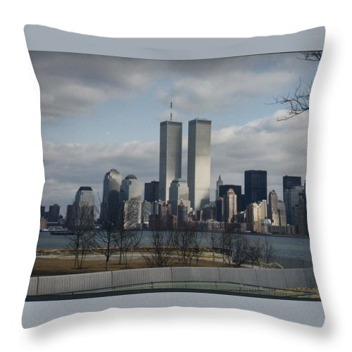 New York Throw Pillow featuring the photograph The Twins by Maria Manna