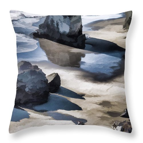 Special Effect Throw Pillow featuring the photograph The Unexplored Beach Painted by Mick Anderson
