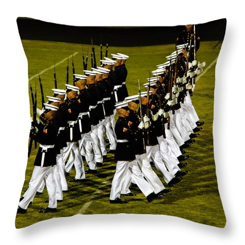 Tunited States Throw Pillow featuring the photograph The United States Marine Corps Silent Drill Platoon by Robert Bales