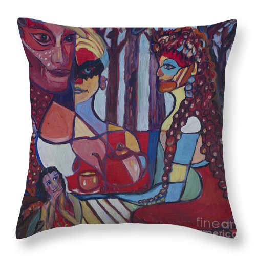 Abstract Throw Pillow featuring the painting The Unknown Story by Avonelle Kelsey