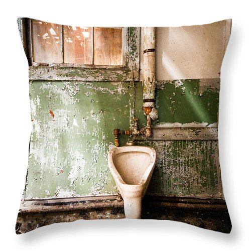 Urinals Throw Pillow featuring the photograph The Urinal by Gary Heller