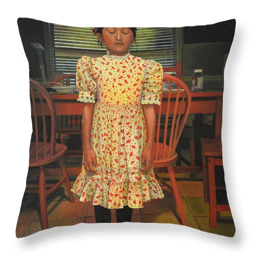Children Paintings Throw Pillow featuring the painting The Valentine Dress by Thu Nguyen