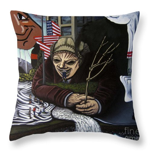 Surreal Throw Pillow featuring the painting The Valley Heir Vs. The Vagabonds Of The Universe by Mack Galixtar