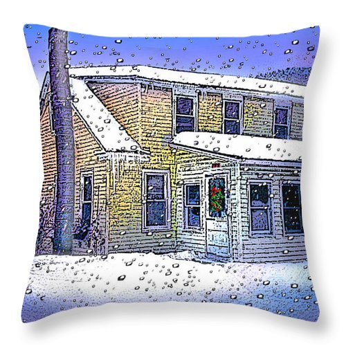Vermont Throw Pillow featuring the digital art The Vermont Homestead by Nancy Griswold