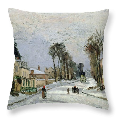 Winter Throw Pillow featuring the painting The Versailles Road At Louveciennes by Camille Pissarro
