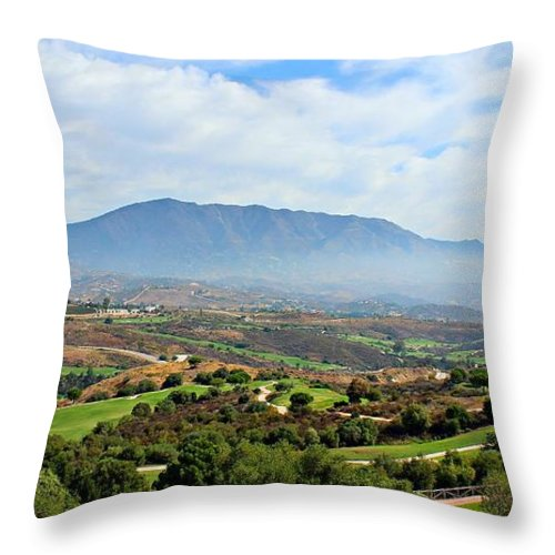 Spain Throw Pillow featuring the photograph The View From Mum And Dads by Clare Bevan