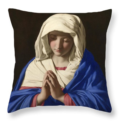 Sassoferrato Throw Pillow featuring the painting The Virgin In Prayer by Sassoferrato
