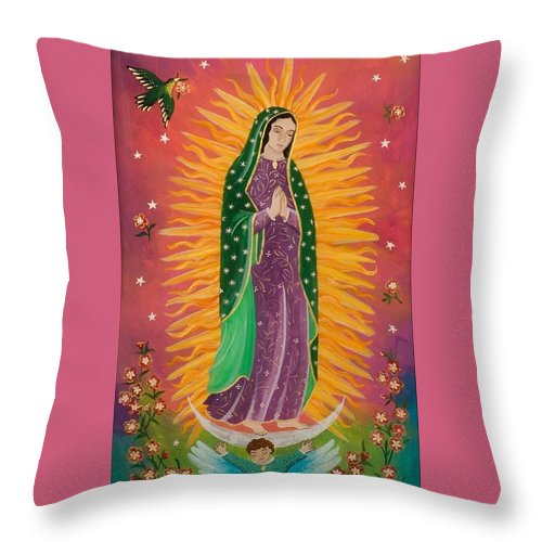 Sue Betanzos Throw Pillow featuring the painting The Virgin Of Guadalupe by Sue Betanzos