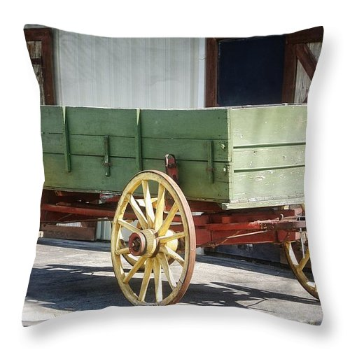 West Jordan Throw Pillow featuring the photograph The Wagon by Image Takers Photography LLC - Laura Morgan