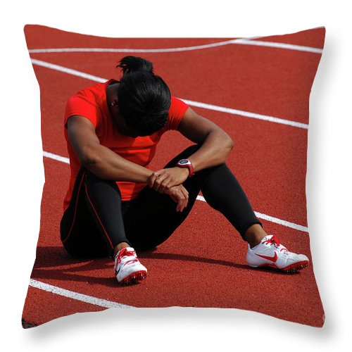 Canadian Track And Field National Championships 2011 Throw Pillow featuring the photograph The Wait by Bob Christopher