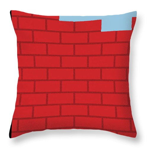 Wall Throw Pillow featuring the painting The Wall by Bob Staake