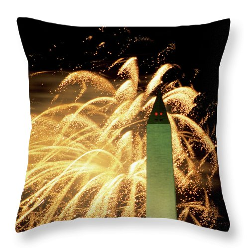 Firework Display Throw Pillow featuring the photograph The Washington Monument And Fireworks by Hisham Ibrahim