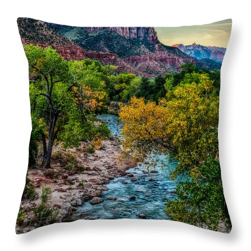 Zion Throw Pillow featuring the photograph The Watchman At Sunrise by George Buxbaum