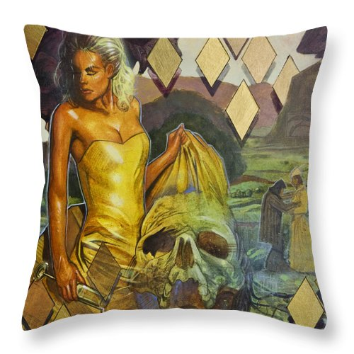 Yellow Throw Pillow featuring the painting Blood In The Water by T M Rhyno