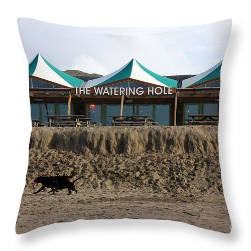 Perranporth Throw Pillow featuring the photograph The Watering Hole Perranporth by Terri Waters