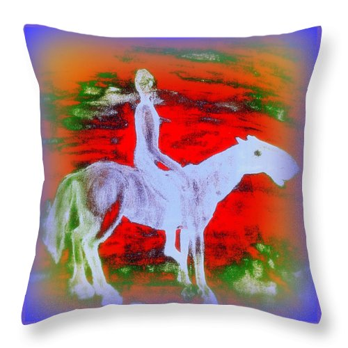 Rider Throw Pillow featuring the painting You Ride The Way You Ride But Where  by Hilde Widerberg