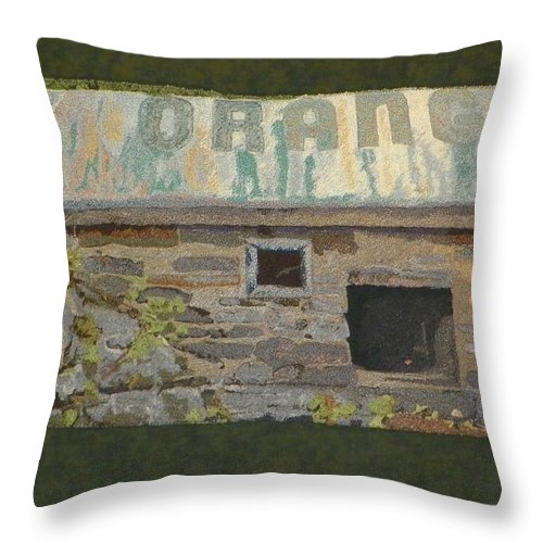 Art Quilt Throw Pillow featuring the mixed media The Well House by Jenny Williams