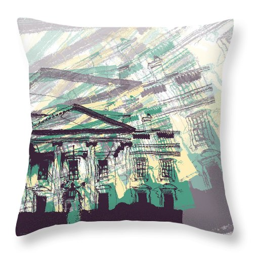 Graphic Design Throw Pillow featuring the digital art The White House by Phil Perkins