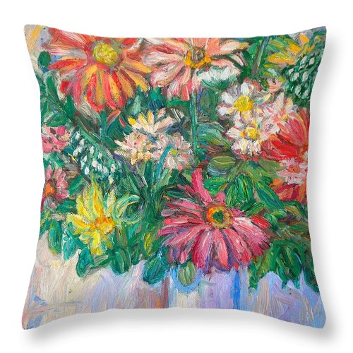 Still Life Throw Pillow featuring the painting The White Vase by Kendall Kessler