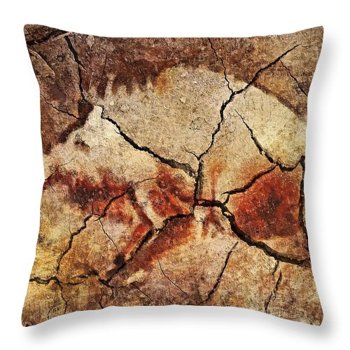 Animal Throw Pillow featuring the digital art The Wild Boar-cave Art by Dragica Micki Fortuna