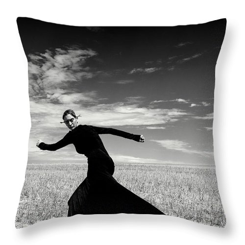 Looking Over Shoulder Throw Pillow featuring the photograph The Witch by Funky-data