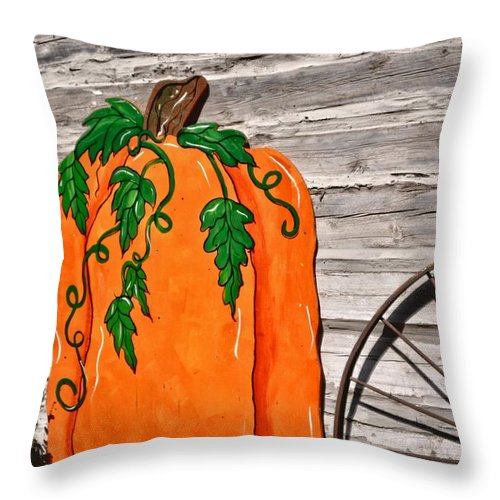 West Jordan Throw Pillow featuring the photograph The Wooden Pumpkin by Image Takers Photography LLC - Carol Haddon