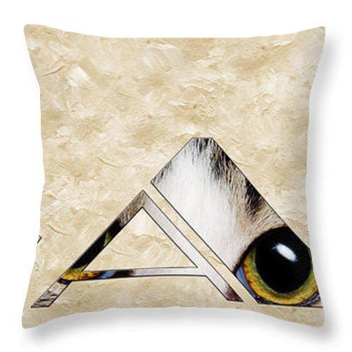 Cat Throw Pillow featuring the mixed media The Word Is Cat by Andee Design