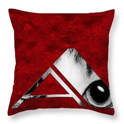 Andee Design Cat Throw Pillow featuring the photograph The Word Is Cat Bw On Red by Andee Design