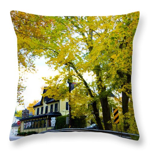 Yardley Throw Pillow featuring the photograph The Yardley Inn In Autumn by Bill Cannon