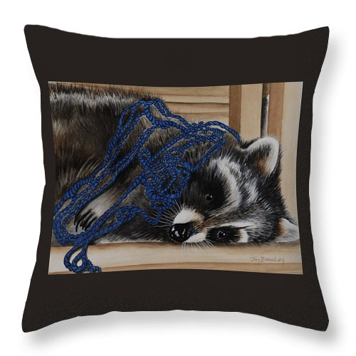 Raccoon Throw Pillow featuring the painting The Yarn Won by Joy Bradley