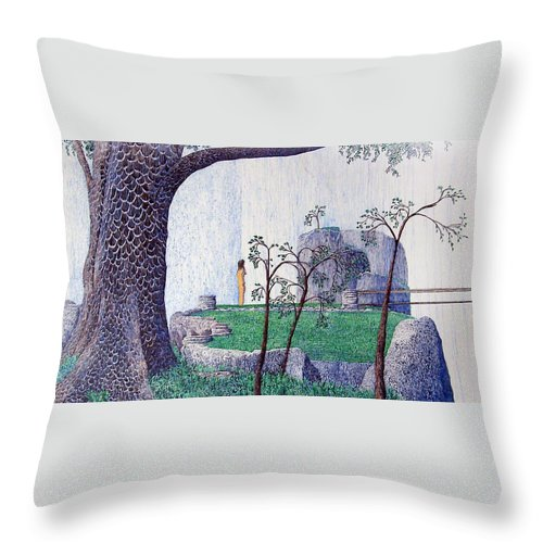 Landscape Throw Pillow featuring the painting The Yearning Tree by A Robert Malcom