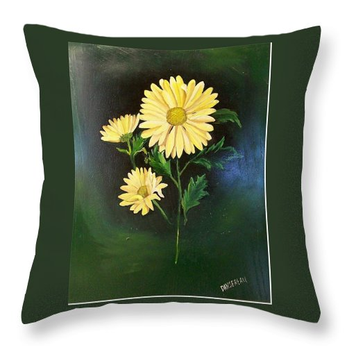 Flower Throw Pillow featuring the painting The Yellow Daisy by Wanda Dansereau